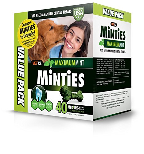 Vetiq Minties Dog Dental Bone Treats, Dental Treats For Dogs, Medium/Large, 32Oz