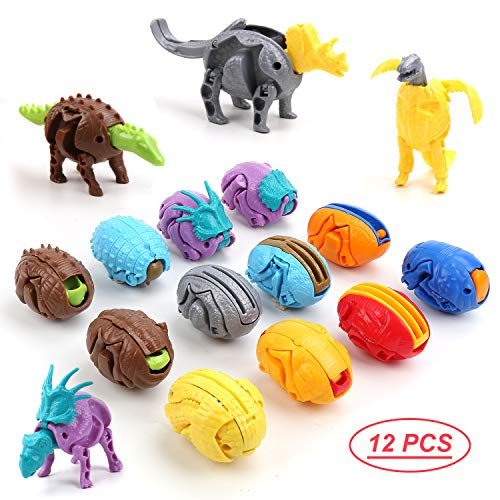 DricRoda Dinosaur Eggs Kit, 12PCS Deformable Dino Toys, Hatching Easter Desktop Decorations Thanksgiving, Christmas Party Favor for Kids Toddler of 3 4 5 6 Years Old (Easter Eggs Christmas)