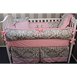 Custom Made Baby Crib Bedding Grey damask / pink