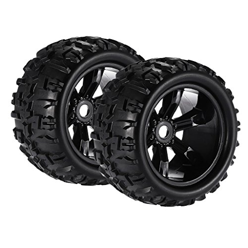 Dovewill Pack of 2 1/8 Scale RC Car Monster Trucks Tyres Tire Wheel Rim Hex Hub for HSP E-MAXX Savage Flux E-maxx Rc Truck