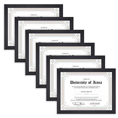 (Icona Bay 8.5x11 Document Frame Pack (6 Pack, Black) 8.5 x 11 Certificate Frames, Tabletop and Wall Hang Hardware Included with Diploma Frames, Impresia Collection)