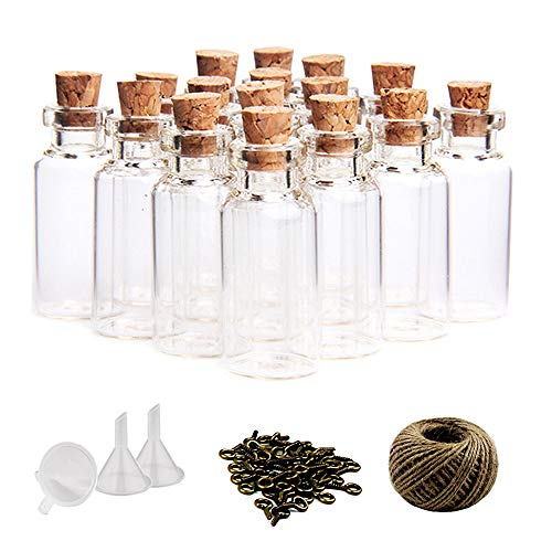 OUTUXED 60pcs 10ml Mini Glass Jars Bottles with Cork Stoppers Wish Bottles,60pcs Eye Screws,30 Meters Twine & 3pcs Funnel -