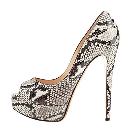 Arc-en-Ciel zapatos de plataforma de la mujer peep toe de tacón alto Zebra