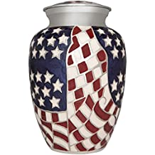 Flag Funeral Urn by Liliane Memorials- Cremation Urn for Human Ashes -Hand Made in Brass -Suitable for Cemetery Burial or Niche- Large Size fits remains of Adults up to 200 lbs- Veteran-Hero Model