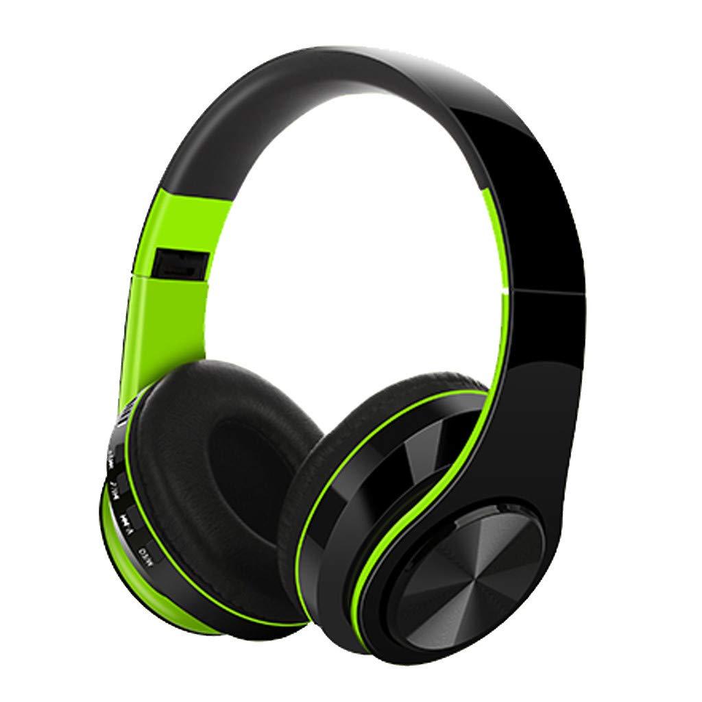 Han Shi Wireless Bluetooth Headphones Foldable Lightweight Over Ear Headsets with Microphone, Soft Earpads Deep Bass Stereo Earphone for Sport, Work, Travel #BAO0120-003(Green)