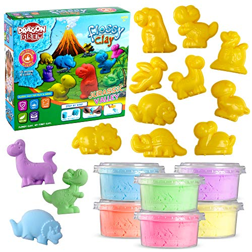 Dragon Drew Kinetic Modeling Clay Sand - 17 Piece Flossy Play Dough Set - 10 Jurassic Dinosaur Plastic Molds - 6 Colors - Reusable, Moldable, Stretchy, Non Sticky, Non Drying, Silky Smooth
