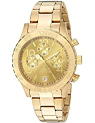 Invicta Womens 1279 II Collection Chronograph Gold Dial 18k Gold Toned Stainless Steel Watch