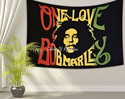 Colors Of Rajasthan Bob Marley Tapestry, Indian Wall Hanging, Hippie Decor, Bohemian Bedding Single Boho Picnic Throw Gypsy Beach Blanket One Love Rasta Reggae Tapestries (Rasta Color Blanket)
