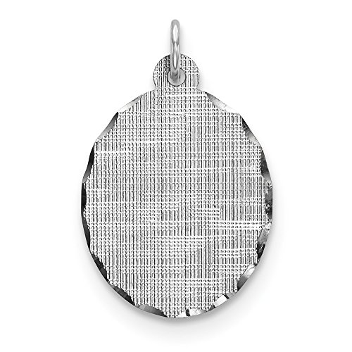 925 Sterling Silver Rh Plt Engraveable Oval Patterned Front Back Disc Pendant Charm Necklace Engravable Elliptical Fine Jewelry Gifts For Women For - Oval Engraveable Disc Charm