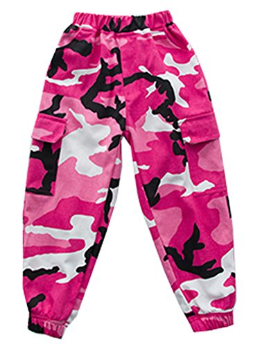 LifeHe 2018 Kids Hip Hop Casual Loose Fit Camo Jogger Cargo Pant (Pink, 130cm) by LifeHe