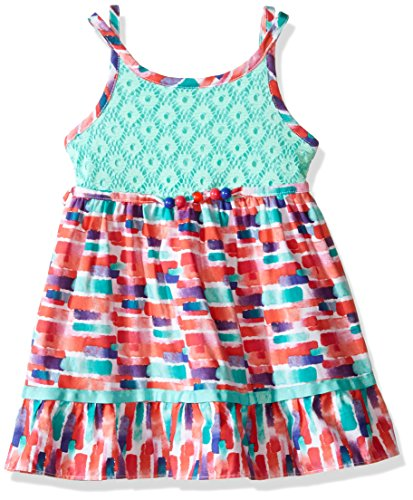 Youngland Little Girls' Crochet Knit to Poplin Dress with Beaded Waistline, Turquoise/Multi, 3 (Beaded Crochet Skirt)