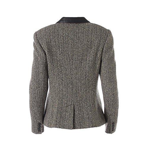 Lauren Ralph Lauren Womens Petites Leather Collar Three-Button Blazer Black 8P