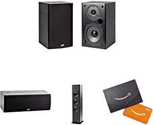 Polk Audio Home Theater Bookshelf Speakers Hi-Res Audio, Black with Home Theater Center Channel Speaker and Home Theater Floor Standing Tower Speaker and $20 Amazon.com Gift Card