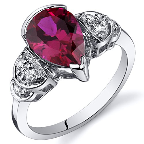 Created Ruby Tear Drop Ring Sterling Silver Rhodium Nickel Finish 2.50 Carats Sizes 5 to 9