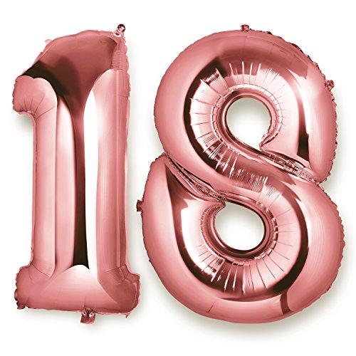 Meersee Globo 18 Oro rosa, 40 pulgada Globo Balón de Helio Gigantes Decoración del Globo del Cumpleaños Numero 18