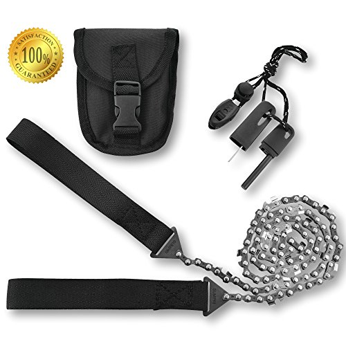 Pocket Chainsaw & Fire Starter Camping Gear - 36 Inch Compact Hand Saw & Magnesium Spark Fire Rod (Saws Bbq)