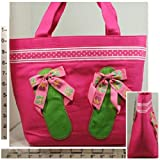 Cheap Purse/Shoulder Bag/Tote ~ Canvas ~ Fuchsia w/Green, Purple & Pink Flip Flops
