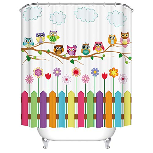 Dodou Digital Printing Owls Shower Curtain Set Home Decor Owls on a Branch Sunny Day Countryside Farmhouse Fences Wildflowers Holidays Art Polyester Waterproof Fabric Shower Curtain (72''Wx72''H) (Owl Shower)