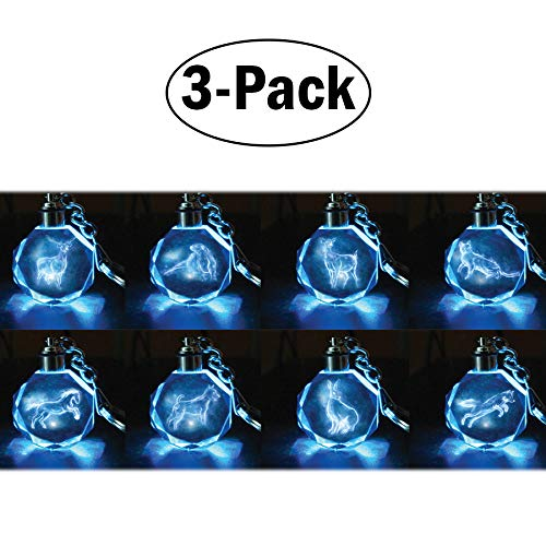 Harry Potter Patronus Collectible Key Chain Mystery Blind Bag, 3 Pack - Receive 3 of 8 Mystery Crystal Patronus Key Rings with LED Blue Light - Collect All 8 - Series 1