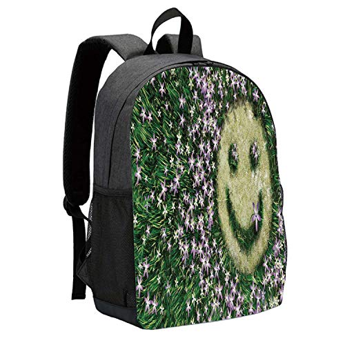 Garden Decor Durable Backpack,Smiley Emoticon on the Grass with Spring Flowers Happy Humorous Meadow for School Travel,12