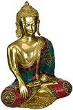 AapnoCraft Large Tibetan Shakyamuni Buddha Statue Brass Handmade Sitting/Earth Touching Buddha Idols Buddhism Figurine Vastu Gifts