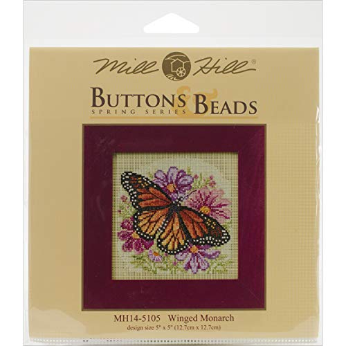 Winged Monarch Butterfly Beaded Counted Cross Stitch Kit Mill Hill 2015 Buttons & Beads Spring -