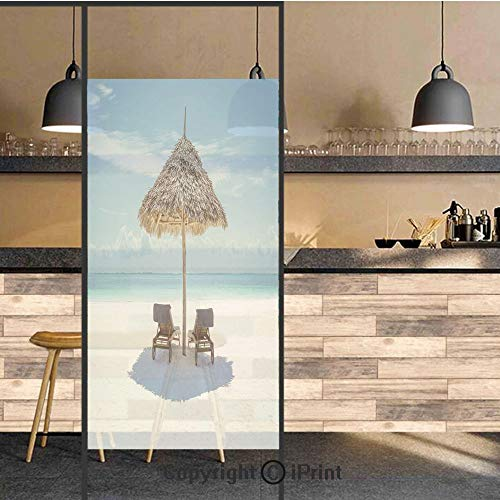3D Decorative Privacy Window Films,Wooden Sun Loungers Facing Eastern Ocean under a Thatched Umbrella in Zanzibar,No-Glue Self Static Cling Glass film for Home Bedroom Bathroom Kitchen Office 24x48 In