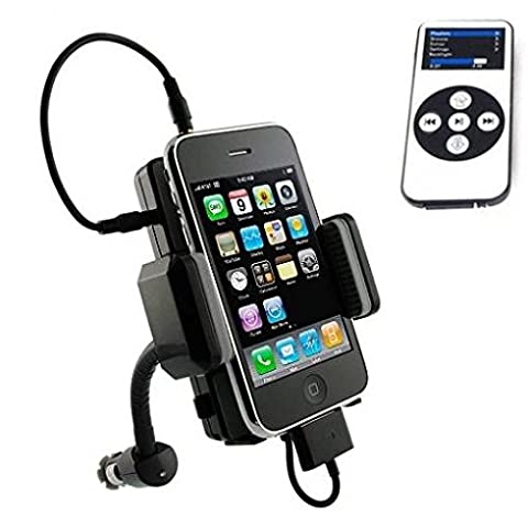 Car Mount Wireless FM Transmitter Charger Holder Extra USB Port Dock Cradle Swivel with Remote Control [Gooseneck] for Ipod Video - US Cellular iPhone 4S - Verizon iPhone (Iphone 4s Car Transmitter)