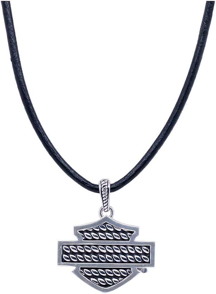 Harley-Davidson Mens Sterling Silver Rope Bar /& Shield Necklace HDN0370-22