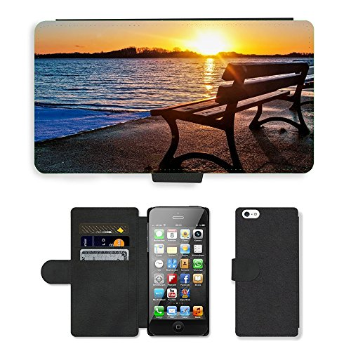 PU Leather Flip Custodia Protettiva Case Cover per // M00421630 Lac Banc Sunset // Apple iPhone 5 5S 5G