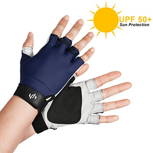 UV SUN PROTECTION FINGERLESS FISHING GLOVES Verified UPF 50+ NO CHEMICALS, Navy M, Block Sunburn Damage While Fly Fishing, Kayaking, Sailing, Golfing, Driving, Outdoor Accessories by The Fishing Tree
