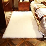 Noahas Faux Sheepskin Area Rugs Silky Long Wool Carpet for Living Room Bedroom, Children Play Dormitory Home Decor Rug (4' x 6', White)