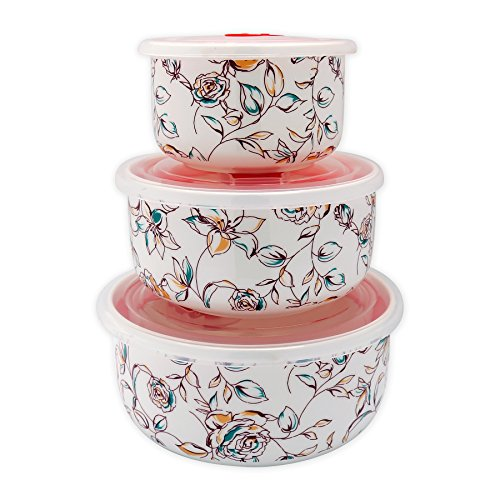 TransSino Treasures Fine Bone China Microwave Bowls with Silicone Lid Elegant Floral Motif Set of 3 ()