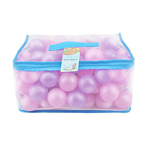 Lightaling 100pcs Pink & Purple Ocean Balls & Pit Balls Soft Plastic Phthalate & BPA Free Crush Proof - Reusable and Durable Storage Mesh Bag with - Play Pit Plastic Of Bag