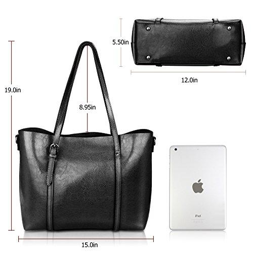 Women Top Handle Satchel Handbags Shoulder Bag Tote Purse Greased Leather Iukio (Black) by IUKIO (Image #7)