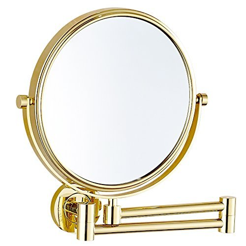 GURUN 8 Inch Two-Sided Swivel Wall Mounted Mirror Vanity Mirror with 10x Magnification,Gold Finish M1305J(8in,10x) by GURUN (Image #5)