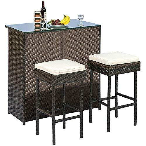 OAKVILLE FURNITURE 61303 Modern 3-Piece Outdoor Furniture Rattan Wicker Patio Bar Set, Brown, Beige Cushions