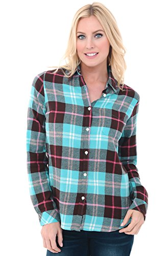 Alexander Del Rossa Womens Flannel Shirt, Button-Down Cotton Boyfriend Top, Small Teal and Brown Plaid (A0710Q23SM)]()