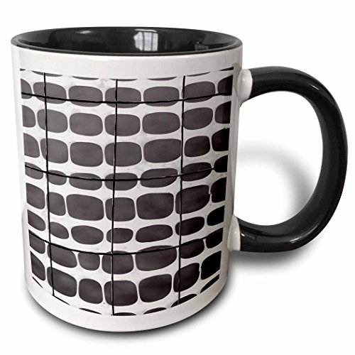 (3dRose Alexis Photography - Abstracts - Image of protective mesh, metal wire in black and white. - 11oz Two-Tone Black Mug (mug_285864_4))