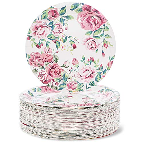 Disposable Plates - 80-Count Paper Plates, Vintage Floral Party Supplies for Appetizer, Lunch, Dinner, and Dessert, Bridal Showers, Weddings, 9 x 9 -