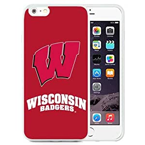 Customized Iphone 6 Plus Case with Ncaa Big Ten Conference Football Wisconsin Badgers 1 Protective Cell Phone TPU Cover Case for Iphone 6 Plus Generation 5.5 Inch White