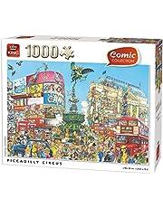 KING 55889 Comic Cartoon Picadilly Circus 1000 delar, helfärgad, 68 x 49 cm
