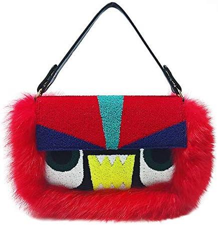 ハンドバッグ - 創造的なステッチぬいぐるみトートバッグ、パーティーバッグ、ショルダーバッグメッセンジャーバッグ、30 * 10 * 20センチメートル よくできた (Color : Red)