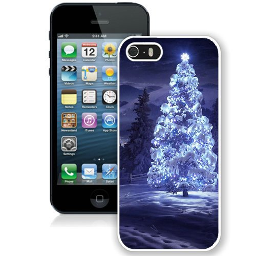 Coque,Fashion Coque iphone 5S Christmas Tree Snow Blue Lights blanc Screen Cover Case Cover Fashion and Hot Sale Design