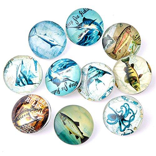 (ZARABE Mix Snap Button Fish Glass Rhinestone Jewelry Charms for 18MM Random 10PC)