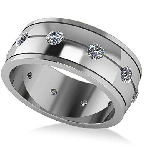 (1.00ct) 14k White Gold Men's Eternity Diamond Ring Wedding Band (Wedding Ring With Diamonds All The Way Around)