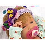"""My Cute Baby Blond Realistic Berenguer 17"""" inches Anatomically Correct Real Alive Girl Baby Washable Doll Soft Vinyl with Accessories"""