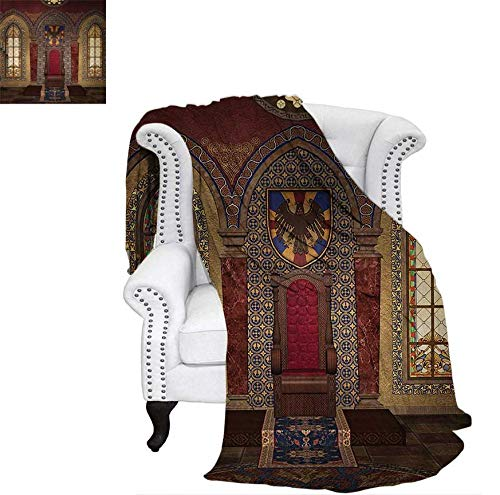 Digital Printing Blanket Red Medieval Throne in Chapel Eagle Portrait on Wall Ancient Fantasy Building Print Lightweight Blanket 90