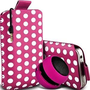 Wiko Cink Peax 2 Dual-SIM de Protección Premium Polka PU ficha de extracción Slip In Pouch Pocket Cordón piel cubierta de la caja de liberación rápida y Mini recargable portátil de 3,5 mm Cápsula Viajes Bass Speaker Jack Hot Pink & White por Spyrox