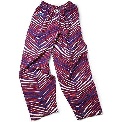 Zubaz NFL Buffalo Bills Mens Classic Zebra Printed Athletic Lounge Pants, New Blue/Red -